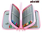 Xiaoyu 72 étuis porte-crayons à glissière multi-couches avec poignée en tissu oxford pour crayon aquarelle, stylo gel, petit marqueur, rose (crayons non inclus)