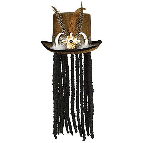 Brauner Voodoo Priester Zylinder mit Dreadlocks Säbelzähnen und Federn Gr. 54-58