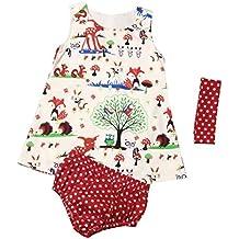 Amlaiworld Bebé niñas Bosques Vestido princesa + Punto Pantalones cortos + Venda 3 piezas Juego de