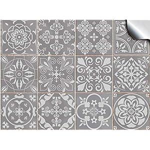 Tile Style Decals 24x Mosaik Wandfliese Aufkleber (T1Grey) für 15x15cm Fliesen 24 stück Fliesenaufkleber für Bad und Küche | Deko Fliesenfolie für Bad u. Küche
