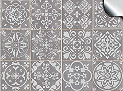 24pc Grey Tile Stickers Victorian Portuguese Moroccan Retro Traditional Mosaic Style Tile Stickers Transfers Cover for 6x6 15 x 15cm tile Kitchen Bathroom Stick On Wall Peel And Stick Tile Decals T1 Grey