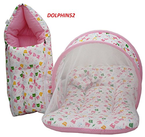 Dolphin52 Baby Bed Set 0 To 4 Months Baby (Pink)