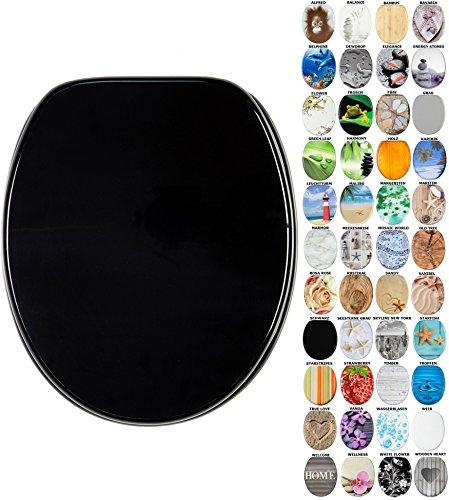 WC Sitz mit Absenkautomatik, viele schöne WC Sitze zur Auswahl, hochwertige und stabile Qualität aus Holz (Schwarz)