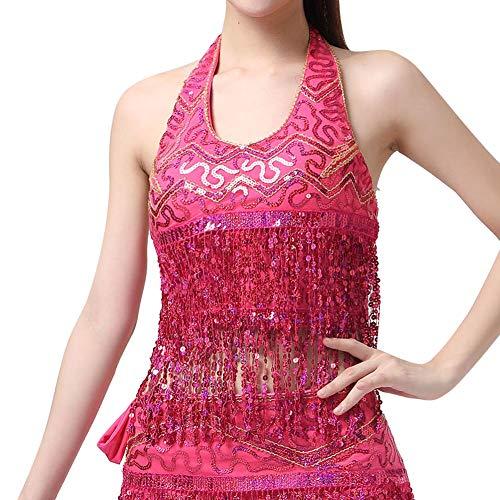 ChYoung Bauchtanz BH Oberteile/Bauchtanzgürtel, Frauen Damen Mädchen Tanz Kostüme Tanz Sequin Troddel (Tanz Kostüm Bhs)