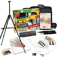 Artina XXL Set de Pintura de 111+11 Piezas Caballete & Set de Pintura Michelangelo con lápices de Colores, Set de Pinceles, Colores acrílicos, Acuarelas.etc