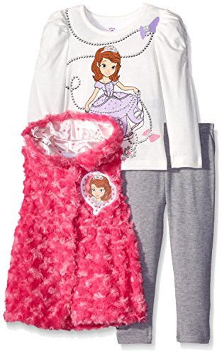 Disney Little Girls' Toddler 3 Piece Sofia Vest and Legging Set, Pink, 2T Disney