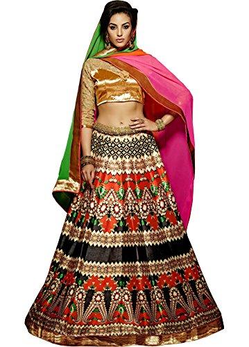 Nirjas Designer Women's Silk Printed Semi-stitched Lehenga Choli - Khawab-505_Orange and Black_Free...