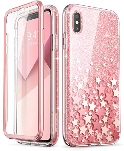 i-Blason iPhone Xs Max Hülle [Cosmo] Glitzer Handyhülle 360 Grad Bumper Case Glänzend Schutzhülle Clear Cover für iPhone Xs Max 6.5 Zoll 2018, Rosa (Entsperrt Iphone 6 Grau)