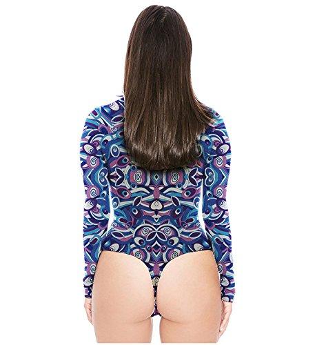 Swallowuk Donna Sexy Manica Lunga Camicia Moda Stampa Slim Fit T-shirt Jumpsuits (M, 8) 6