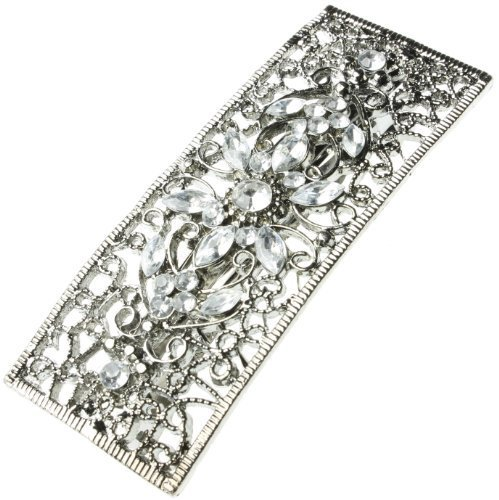 Barrettes Clips Hair Clips Diamante Hair Slide Vintage Clear Oblong Single Flower by Accessories