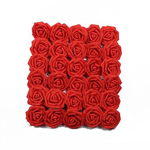 U 'artlines 30Stück Künstliche Blumen Echt Aussehende Fake Roses W/Vorbau für DIY Hochzeit Blumensträuße Aufsteller Party Baby Dusche Home Office Shop Hotel Supermarkt Dekorationen (Rot)