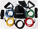 100% NATURAL LATEX TUBES, Columbia-Bookfest®Power Cords Resistance Bands 11pc Set, Ideal For Home Fitness, Yoga, Pilates, Abs, P90x & Workout with workout guide. Part of the Columbia-Bookfest® PowerCord products.