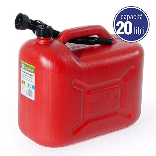 VERDELOOK Tanica in plastica Rossa per Carburante con boccaglio, capienza 20 Litri