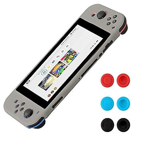 Nintendo Switch Silikon Hülle - Morbuy Tasche Soft Anti-rutsch Protective Skin Case Cover & Joystick Kappen für Nintendo Switch (Grau)