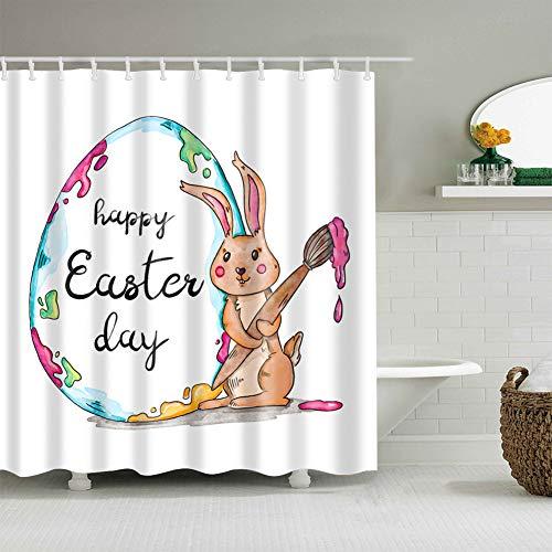 Ostern-Dekoration ist farbiger Hintergrund 1 gelbe Kaninchen-Hand, die farbigen Bleistift auf der Eierschalen-Malerei 3D-Digitaldruck feuchtigkeitsbeständiger Mehltau Badzubehör +12 Haken hält