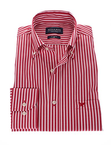178648 - Bots & Bots - Camicia Uomo - Exclusive Collection - 100% Cotone - Button Down - Normal Fit Rosso