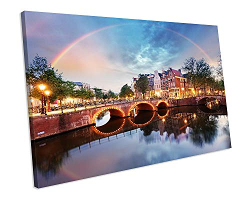 chuanghe3943 Unframe Canvas Printing Amsterdam City Bridge Sunset Canvas Framed Picture Print Canvas Print Bedroom Bathroom Decoration Wall Art - City-art-giclee Canvas
