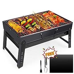 Idea Regalo - Fixget Barbecue Grill, Barbecue Carbone Portatile Pieghevole per BBQ all'aperto Giardino Terrazza Campeggio Picnic per 3-5 Persone