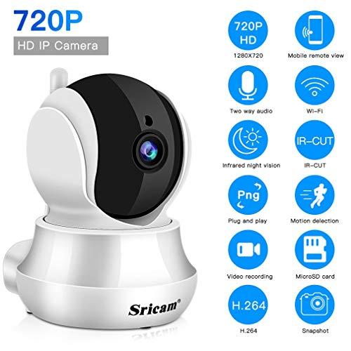 Sricam Babyphone Kamera 720P WLAN Kamera WiFi Überwachungskamera mit Nachtsicht, Bewegungserkennung, 355° Schwenkbar, Zwei Wege Audio, Unterstützt Fernalarm und Mobile App Kontrolle