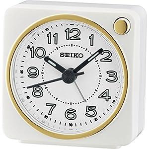 Seiko qhe144W mesilla–Reloj despertador analógico con luz, color blanco, 8,7x 7.2x 5.2cm) marca Seiko