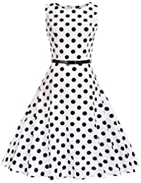 amazon co uk veni masee dresses women clothing 1950s Greaser and Pink Ladies veni masee women classy round neck dot printed 1950s vintage swing retro party cocktail swing dress