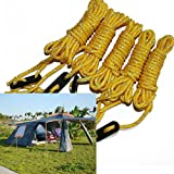 Trillycoler 4pcs Fluorescent Yellow Guy line Runner Guy Line Camping Cord Camping Tent Ropes
