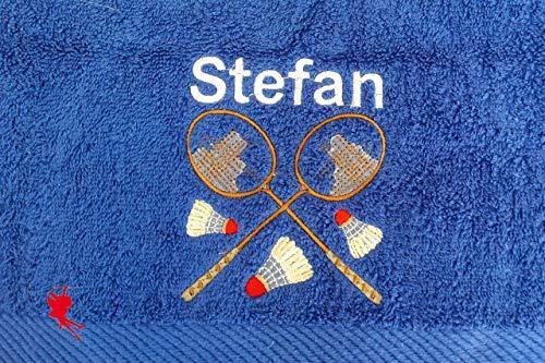 Badminton Handtuch bestickt mit Motiv und Name Federball
