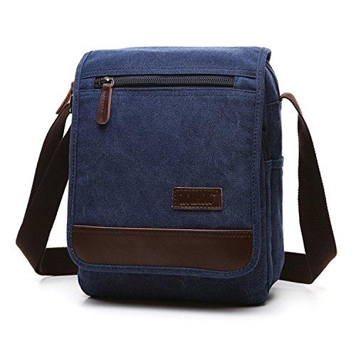 Outreo Umhängetasche Herren Schultertasche Vintage Taschen Kuriertasche Herrentaschen Retro Messenger Bag für Tablet Sporttaschen Schule Reisetasche Blau