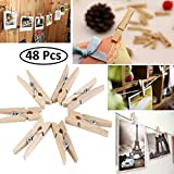 Getko With Device 48Pcs Wood Clothespins Wooden Laundry Clothes Pins Large Spring