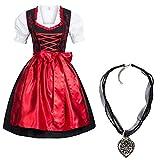 Gaudi-Leathers Dirndl Set 4 TLG. Trachtenkleid schwarz mit roter Stickerei + Dirndlkette 34