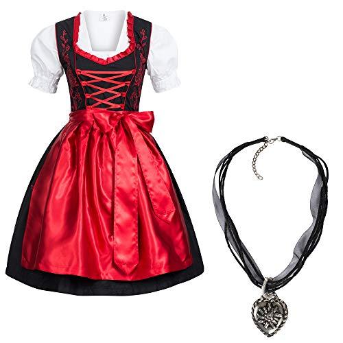 Gaudi-Leathers Dirndl Set 4 TLG. Trachtenkleid schwarz mit roter Stickerei + Dirndlkette 40