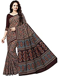 Jevi Prints Women's Multicolor & Brown Kalamkari Printed Cotton Saree With Blouse Piece