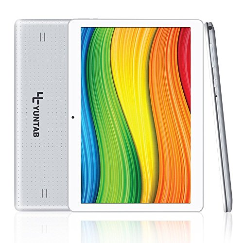 YUNTAB K107 Quad-core Tablet 10.1 pulgadas 3G+WiFi DUAL SIM Android 5.1 3G Tablet PC Yuntab HD 1280 X 800 IPS MT6580, 1.3GHz Cortex A7 Bluetooth 4.0 16GB WiFi 3D Juegos Google Play Store Youtube Netflix (plata)