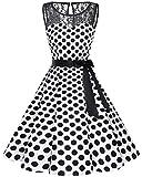 bbonlinedress 1950er Ärmellos Vintage Retro Spitzenkleid Rundhals Abendkleid White Black BDot S