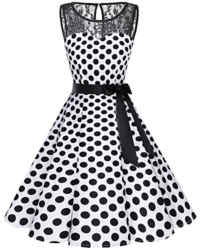 bbonlinedress 1950er Ärmellos Vintage Retro Spitzenkleid Rundhals Abendkleid White Black BDot M (Black And White Party Kostüm)