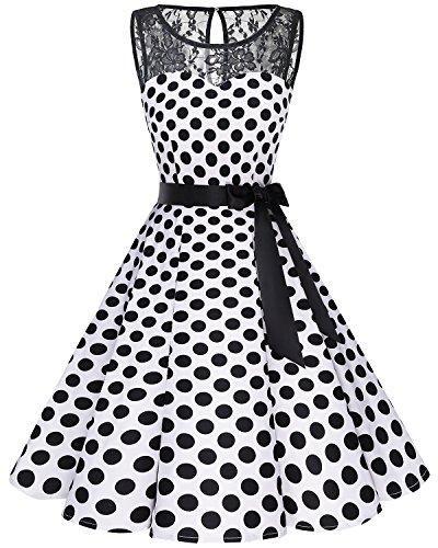 Ärmellos Vintage Retro Spitzenkleid Rundhals Abendkleid White Black BDot S ()