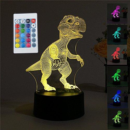 Escomdp USB 3D Vision LED Schreibtisch Tabelle Nachtlicht mit AA Batterie Slot Base Zuhause Bar cafe Dekorative Lampe mit sieben Farben, Geschenk für Kinder (Dinosaurier) (Slot Tabelle)