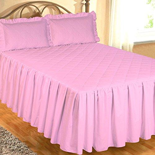Ambiance Super King Size Bett Spannbettlaken Tagesdecke Pink mit 2kissenrollen, luxuriöse Hotel Qualität Ägyptische Baumwolle 200Fadenzahl, traditionelle gesteppt gewellt Diamond, extra tiefe Seite Halskrause 55,9cm - Baumwolle Ägyptische Hotel Sham
