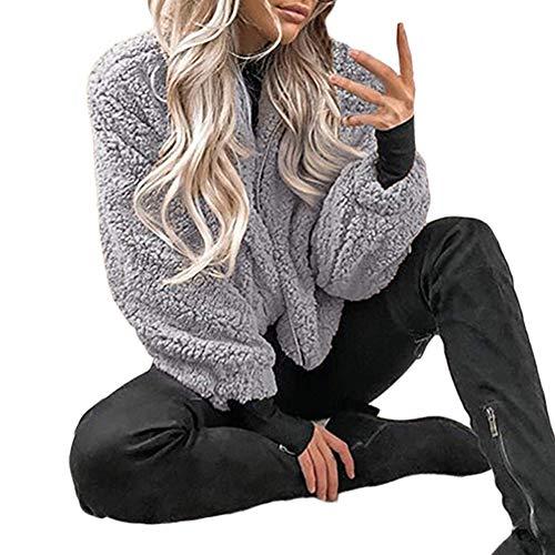 Minetom Femme Veste Manteaux Blouson à Capuche Manches Longues Hiver Chaud Polaire Peluche Parka Chic Fermeture Éclair Motard Moto Outwear Gris FR 46
