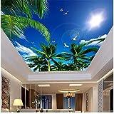 Rureng Benutzerdefinierte 3D Fototapete Mural Decke Zimmer Palme Blauen Himmel Seagull Malerei Hintergrund Vliestapete Für Wände 3D-120X100Cm