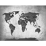 Fototapete Weltkarte Schwarz Weiß Vlies Wand Tapete Wohnzimmer Schlafzimmer Büro Flur Dekoration Wandbilder XXL Moderne Wanddeko - 100% MADE IN GERMANY - Runa Tapeten 9088010c