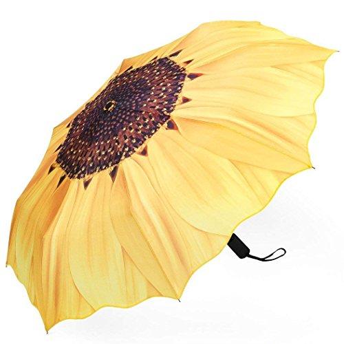 Plemo Regenschirm, Sonnenblume Automatik Taschenschirm Schirm Damenschirm (94 cm Durchmesser) - Gelb - Baldachin 2 Garantie Jahre