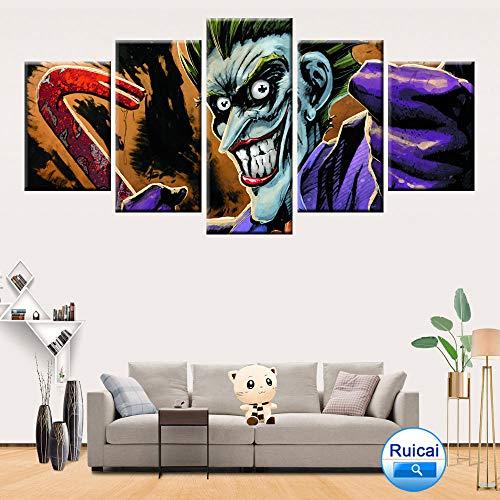 MXLYR Leinwanddrucke Hd Drucken 5 Panel Halloween Clown Bild Poster Leinwandbilder Malerei Wandbild Drucke Auf Leinwand