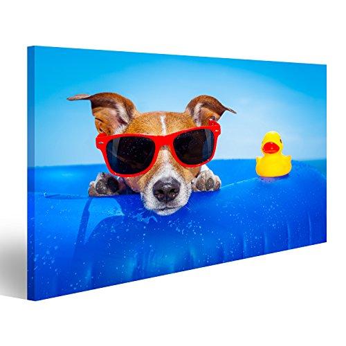 Bild Bilder auf Leinwand Jack Russell Hund auf einer Matratze im Ozean Wasser am Strand, genießen Sommerurlaub Urlaub, mit roten Sonnenbrillen mit gelben Kunststoff Gummi-Ente Verschiedene Formate ! Direkt vom Hersteller ! Bilder ! Wandbild Poster Leinwandbilder ! ESF (Leinwand-gummi-ente)