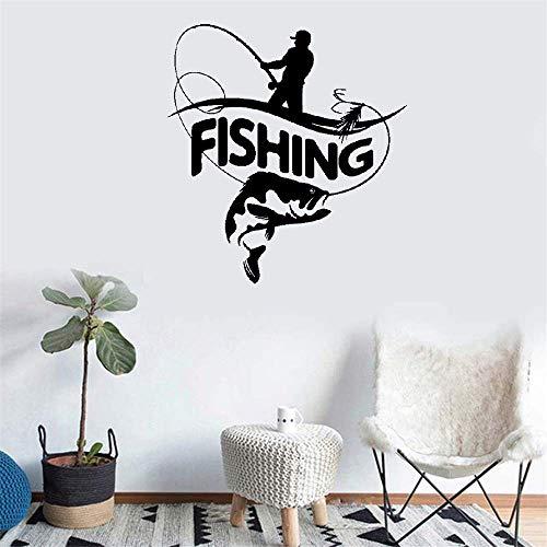 pegatinas de pared baratas Pescador Caña de pescar Pescado grande para tienda de peces