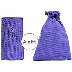 PREMIUM antideslizante Yoga toalla (gratuito (Bolsa) por heathyoga, silicona anti Skid capa, orejas 4Esquinas, agarre óptimo, Super absorbente, microfibra, perfecto para el yoga caliente, Bikram, Ashtanga y pilates.