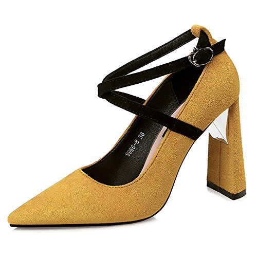 YR-R Damen Shallow Spitzen High Heels Sexy Nachtclub Grobe Ferse Für Frauen Beruf OL Arbeitsschuhe Pumpen,Yellow-EU:34/UK:2