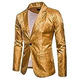 Herren Business Anzug One Button Slim Fit Blazer Jacke Bling Bling (XXL, Gold)