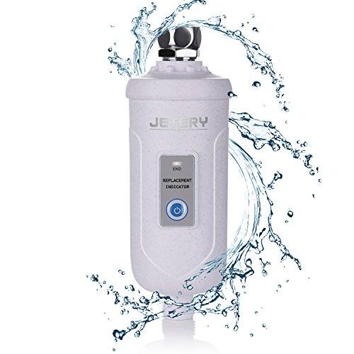 Filtre à eau de douche, Jetery filtré à plus de 99% de chlore, impuretés et odeurs désagréables - Soin bébé, peau et cheveux - Pour tout pommeau de douche, fixe, pluvieux et portatif