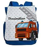 Rucksack mit Namen für Jungen   Motiv Feuerwehr   Cooler Kindergartenrucksack inkl. Wunschname & Brustgurt Royalblau